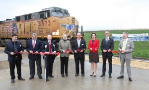 Ribbon cutting for the first train from the new Iowa factory