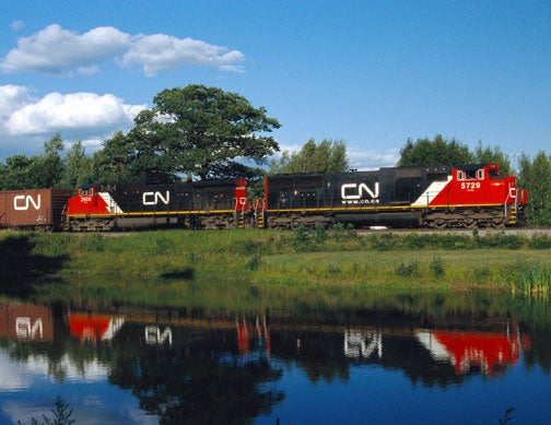 CN freight train in St. Justin, Quebec