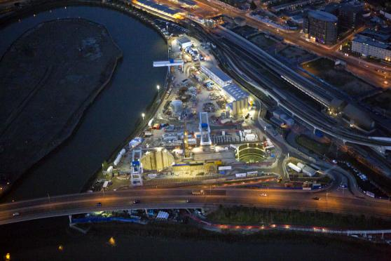 Crossrail limmo tunnel site aerial